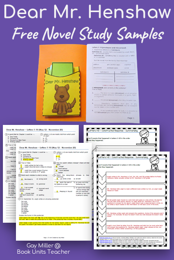 Teaching Ideas to use with Dear Mr. Henshaw by Beverly Cleary - Grab a free vocabulary, comprehension questions, and constructed writing prompts which is great for upper elementary including 3rd, 4th, and 5th graders.