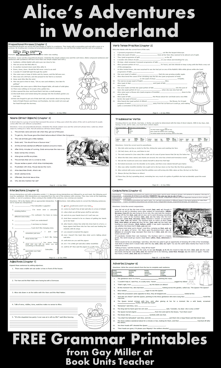 Free Grammar Printables with an Alice in Wonderland Theme