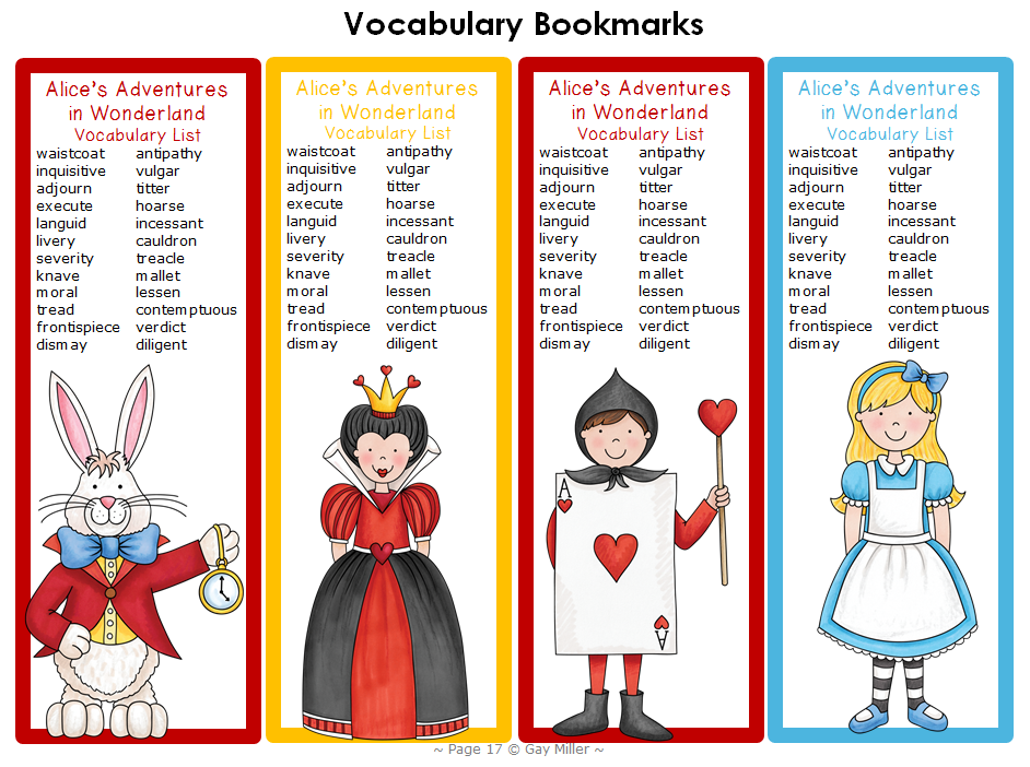 Alice's Adventures in Wonderland ~ Free Book Unit - Part 1 Vocabulary