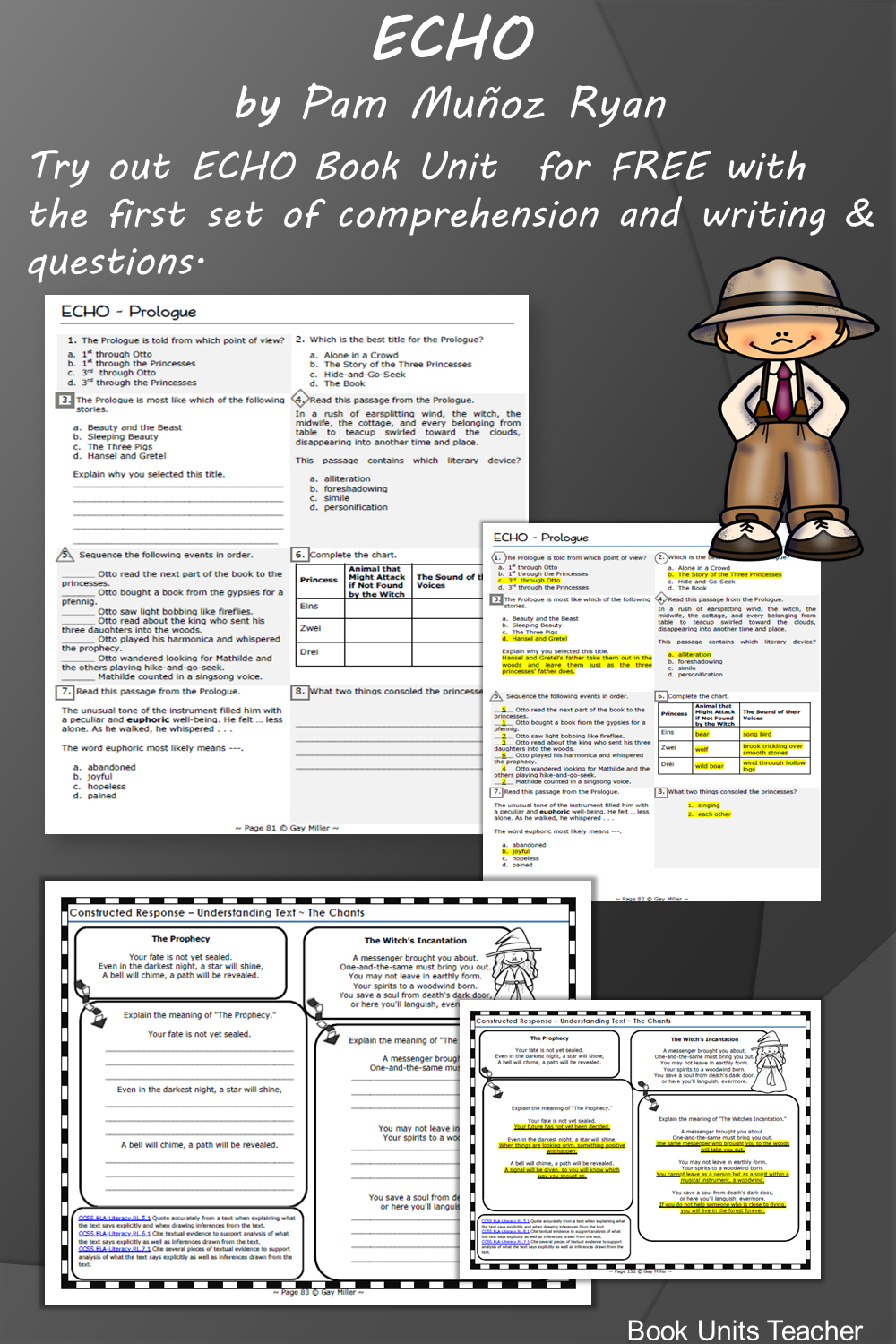 ECHO by Pam Munoz Ryan Teaching Ideas - Grab a free vocabulary, comprehension questions, and constructed writing prompts which is great for upper elementary including 3rd, 4th, and 5th graders.