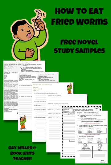 How to Eat Fried Worms Free Novel Study Samples