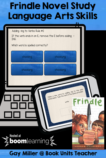 Paperless Interactive Frindle Novel Study powered by Boom Learning Digital Task Cards