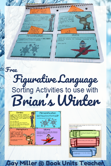 Free figurative language teaching activity to use with Brian's Winter by Gary Paulsen