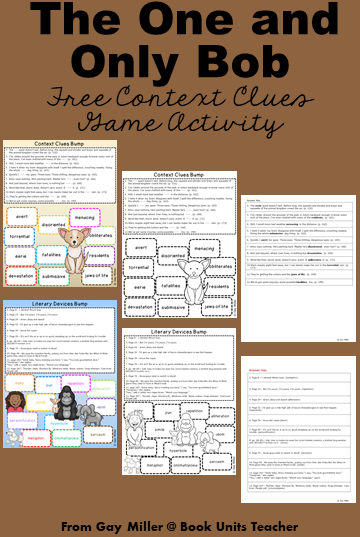 The One and Only Bob Free Bump Activities for Context Clues and Literary Devices