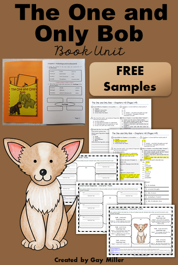 Free book unit samples of The One and Only Bob. Grab these free vocabulary practice exercises, comprehension questions, and writing prompt for the first 10 chapters.