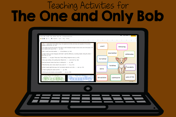 Teaching Activities for The One and Only Bob including Free Novel Study Samples and Game Activities