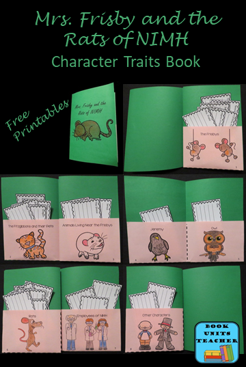 Free Printables to Create Character Trait Book for Mrs. Frisby and the Rats of NIMH