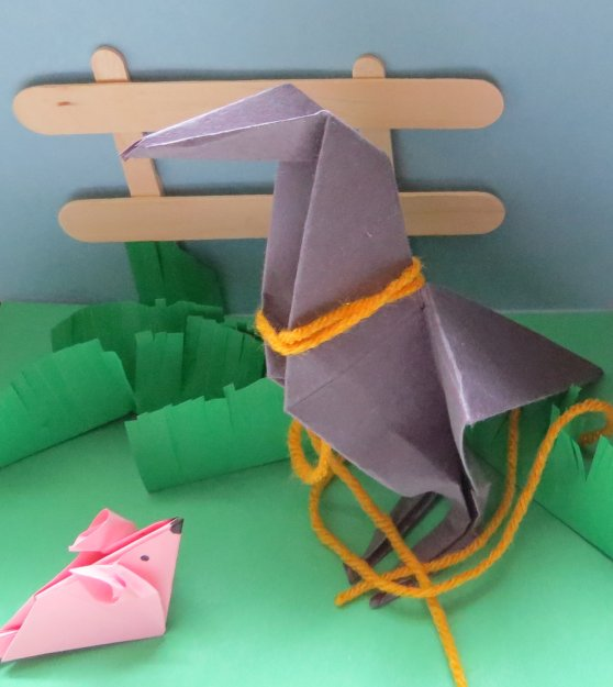 Jeremy and Mrs. Frisby Origami Scene