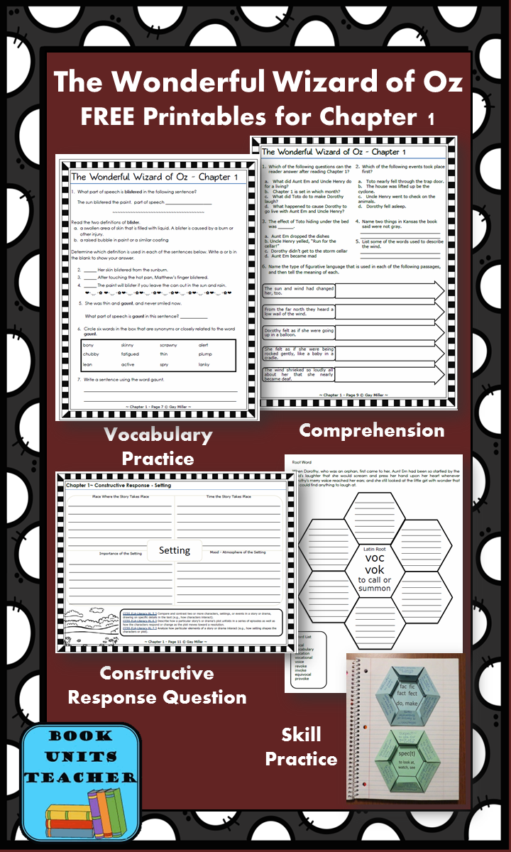 FREE printable pages for The Wonderful Wizard of Oz ~ Chapter 1