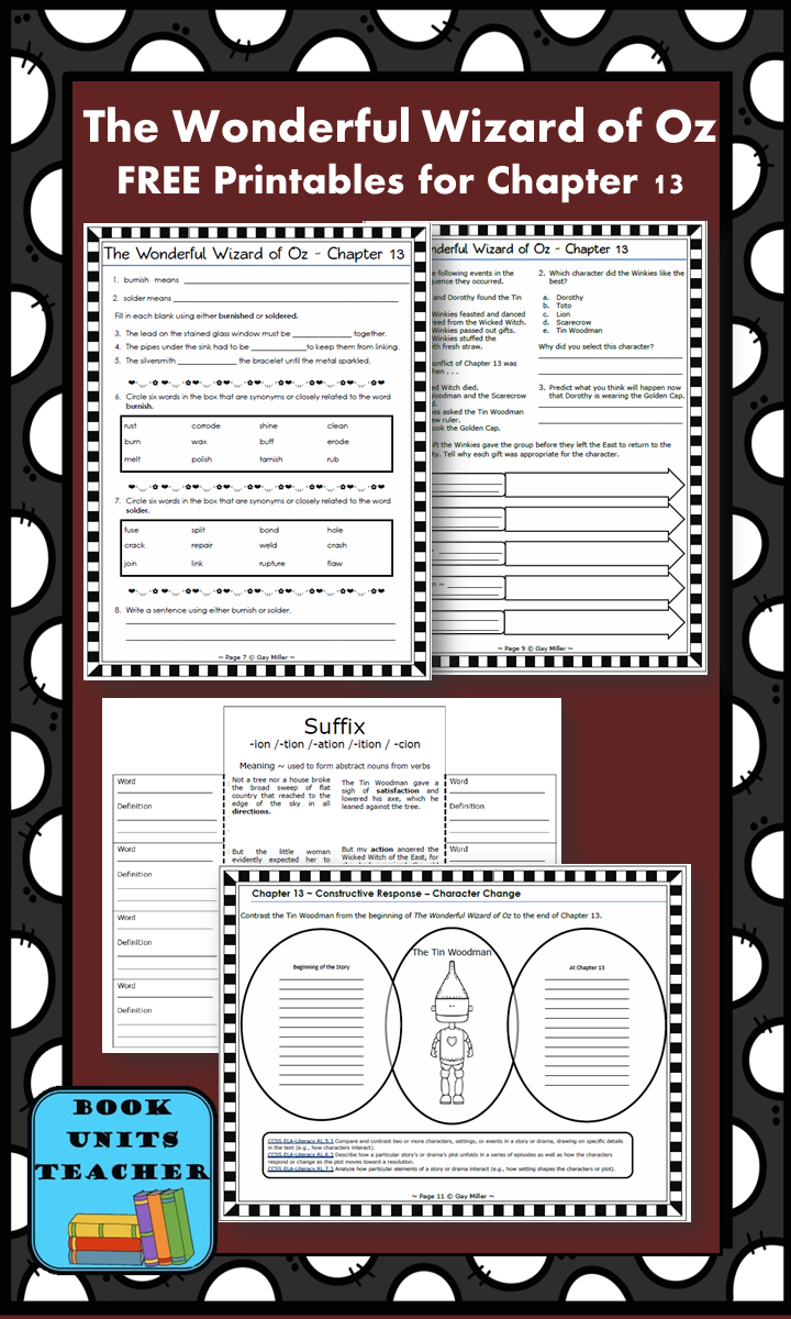 FREE printable pages for The Wonderful Wizard of Oz ~ Chapter 13