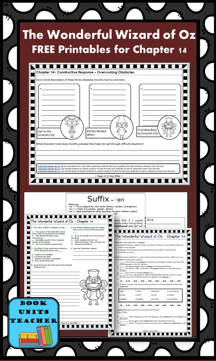 FREE printable pages for The Wonderful Wizard of Oz ~ Chapter 14