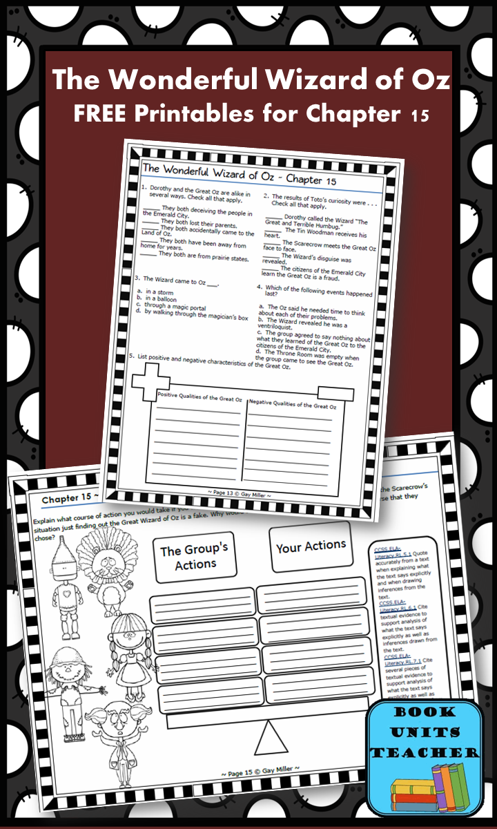 FREE printable pages for The Wonderful Wizard of Oz ~ Chapter 15