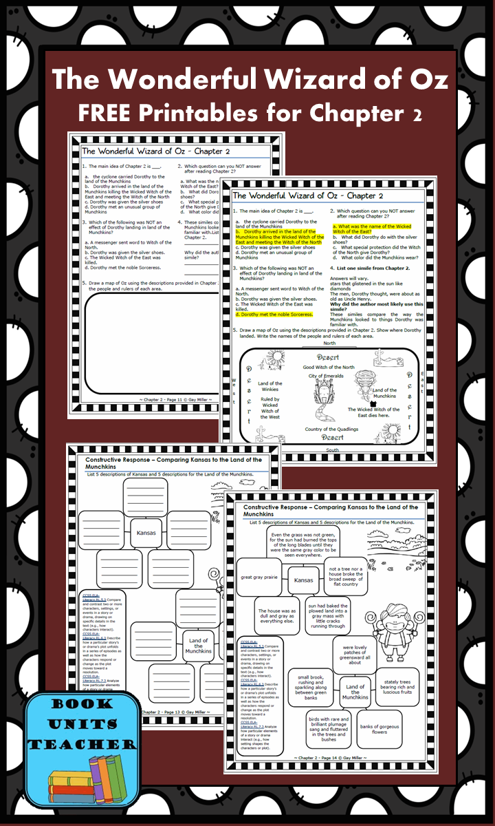 FREE printable pages for The Wonderful Wizard of Oz ~ Chapter 2