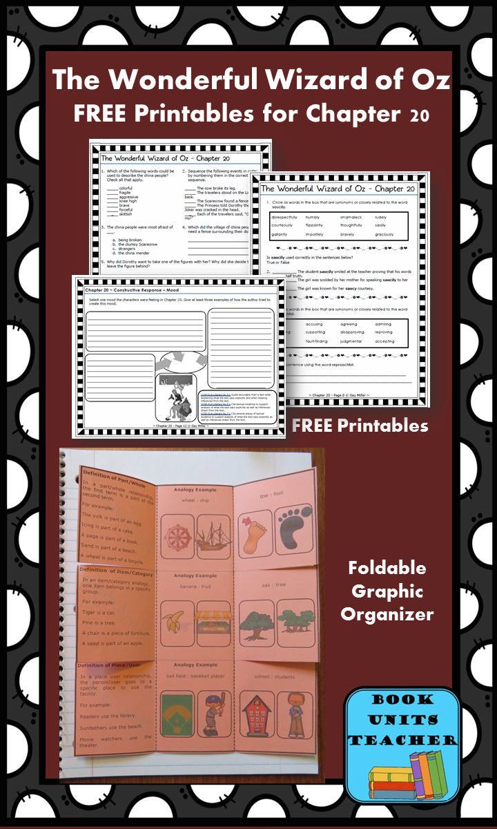 FREE printable pages for The Wonderful Wizard of Oz ~ Chapter 20