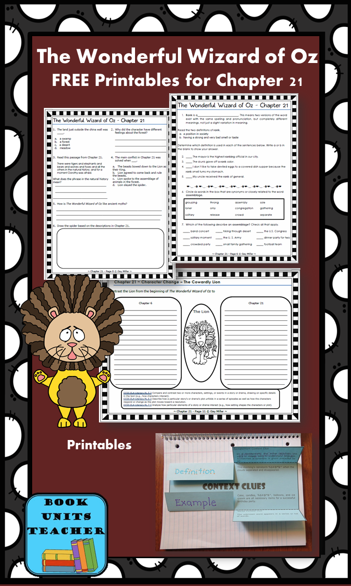 FREE printable pages for The Wonderful Wizard of Oz ~ Chapter 21