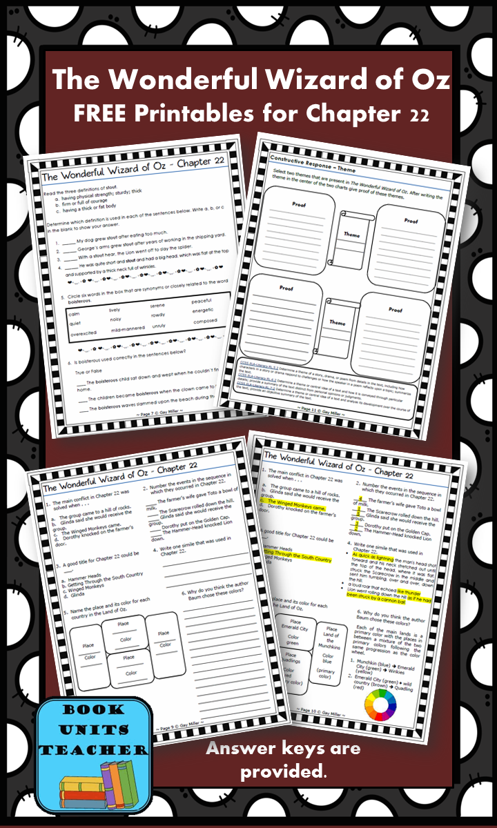FREE printable pages for The Wonderful Wizard of Oz ~ Chapter 22