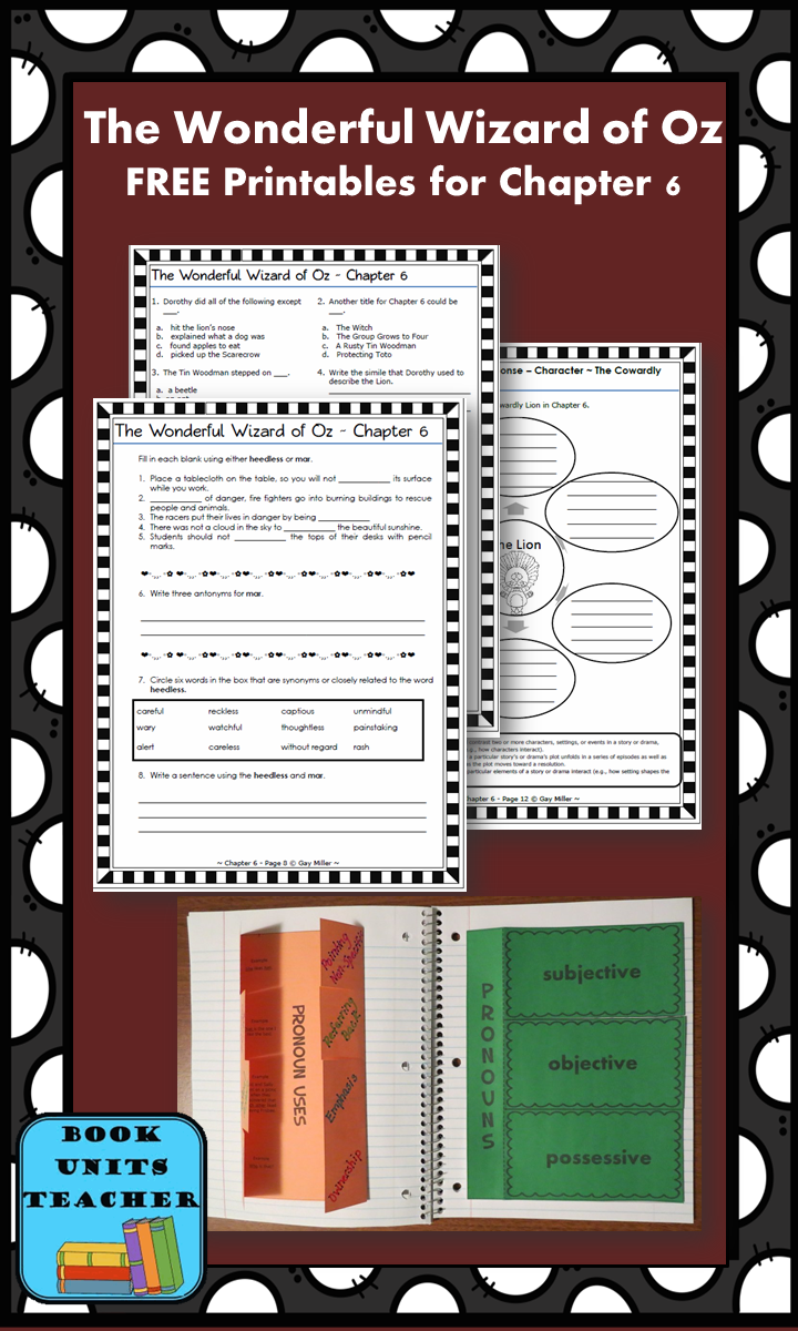 FREE printable pages for The Wonderful Wizard of Oz ~ Chapter 6