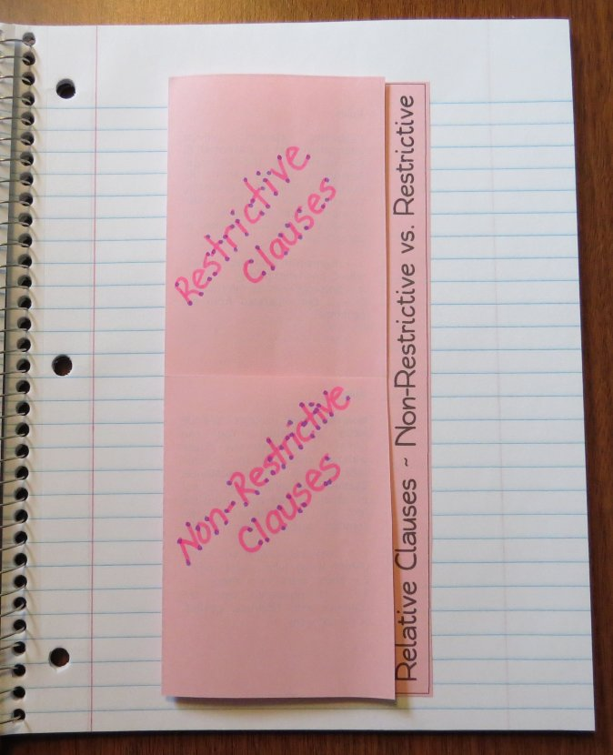 Free Foldable Organizer for Teaching Restrictive vs. Non-Restrictive Clauses