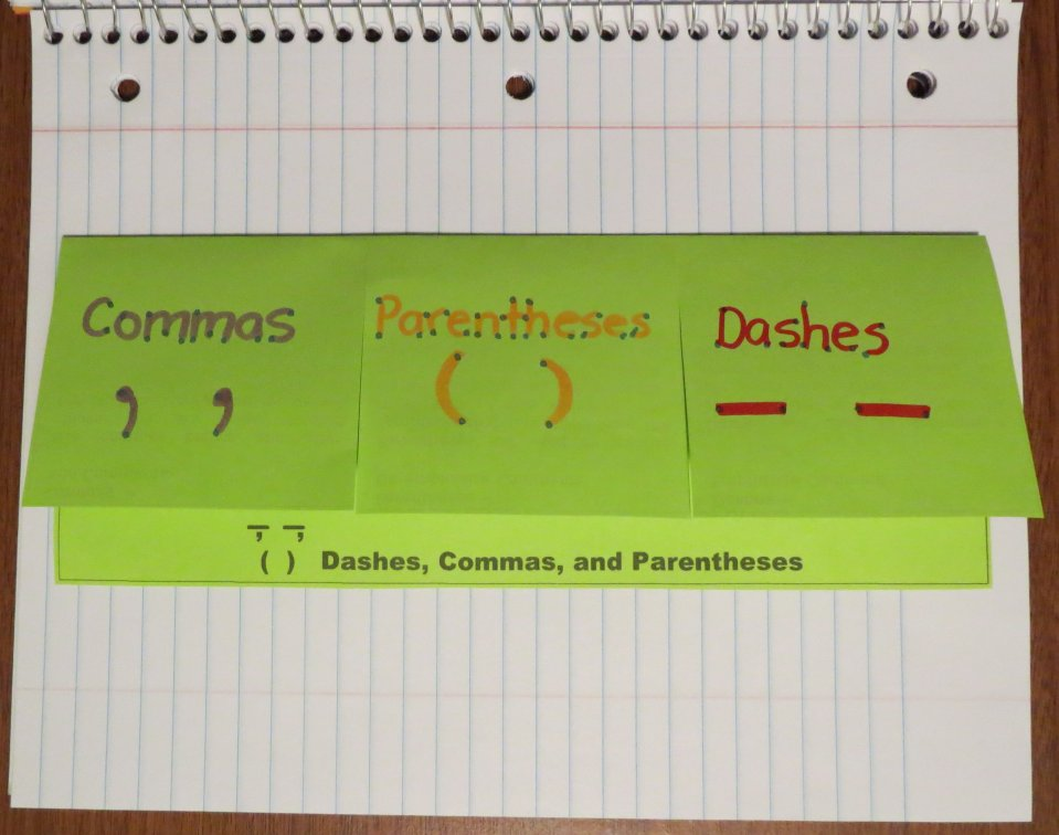 Free Foldable Organizer for Teaching Using Dashes, Commas, and Parentheses to Set off Non-Restrictive Elements
