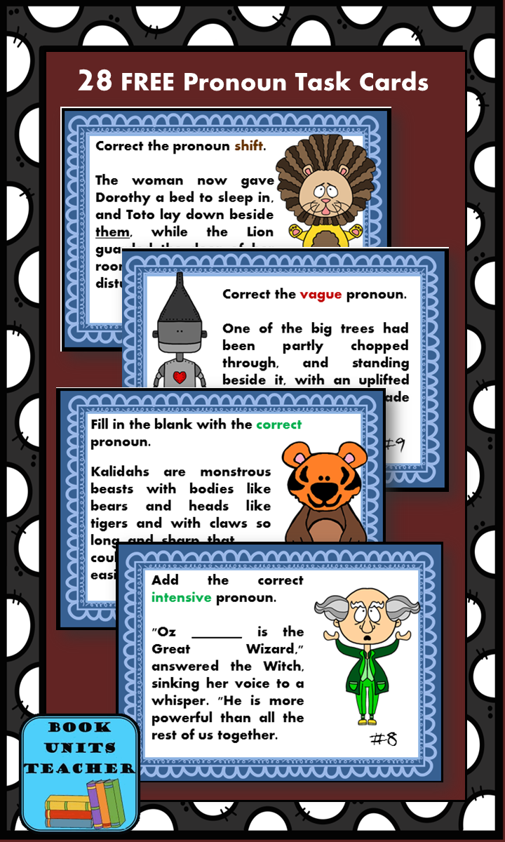 Turn pronoun practice into a game-like activity with these FREE task cards. While they may be used for any traditional task card activity, this collection is set up to work well with the game Scoot. Also, students do not have to read The Wonderful Wizard of Oz to enjoy using these task cards.