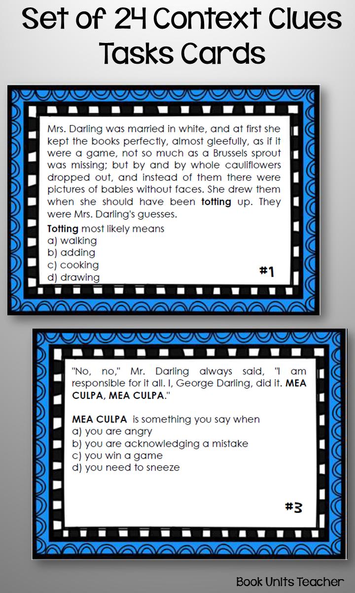 Set of 24 Peter Pan Context Clues Task Cards