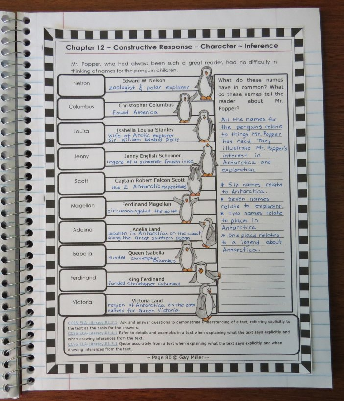 Free sample from Mr. Popper's Penguins  Interactive Notebook and Activity Unit