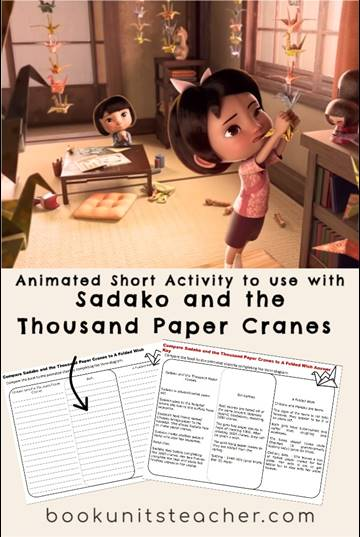 Grab free resources to use with Sadako and the Thousand Paper Cranes including foldable organizer and animated short activity.