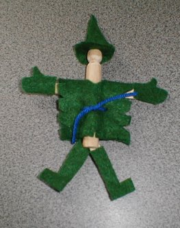 Scarecrow Made from a Wooden Clothes and Felt