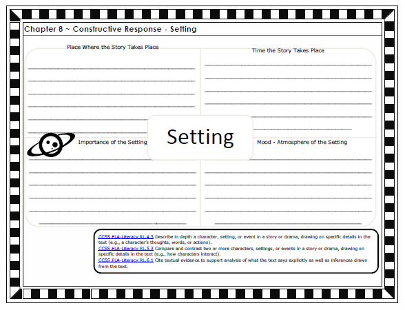 Free Printable A Wrinkle in Time Constructive Response Graphic Organizer