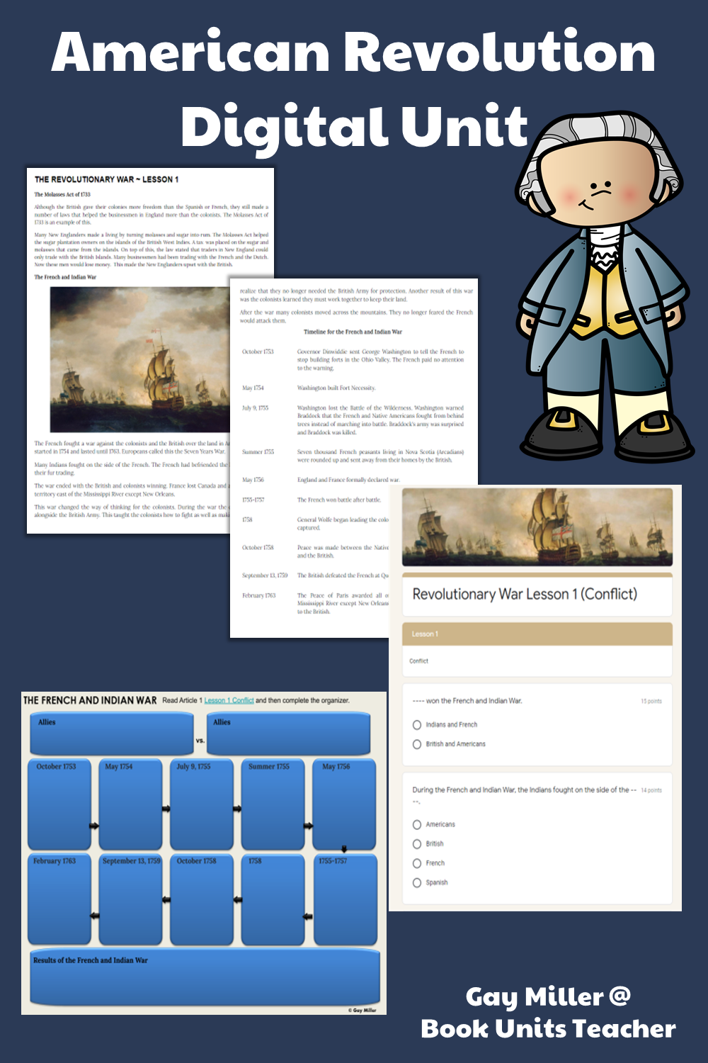 Purchase American Revolution Digital Unit on Teachers Pay Teachers. This activity is great for upper elementary including 4th, 5th, and 6th graders.