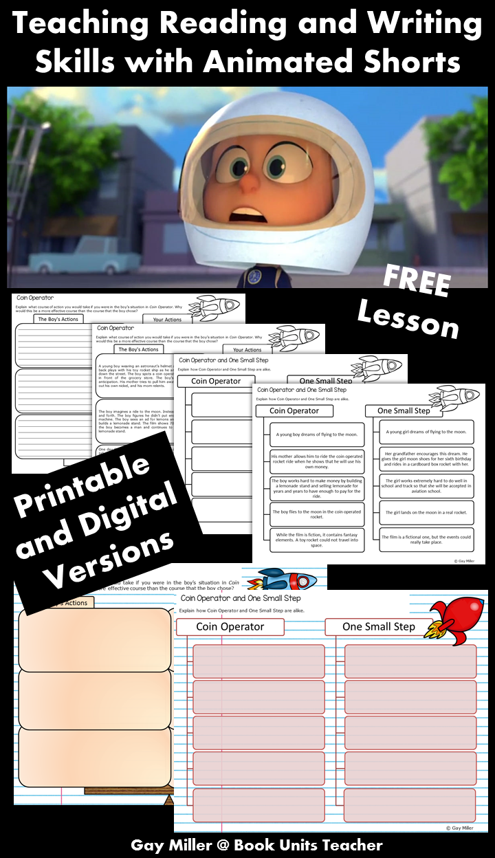 Free Printables to Use when Teaching Reading and Writing Skills with the Animated Short Coin Operated