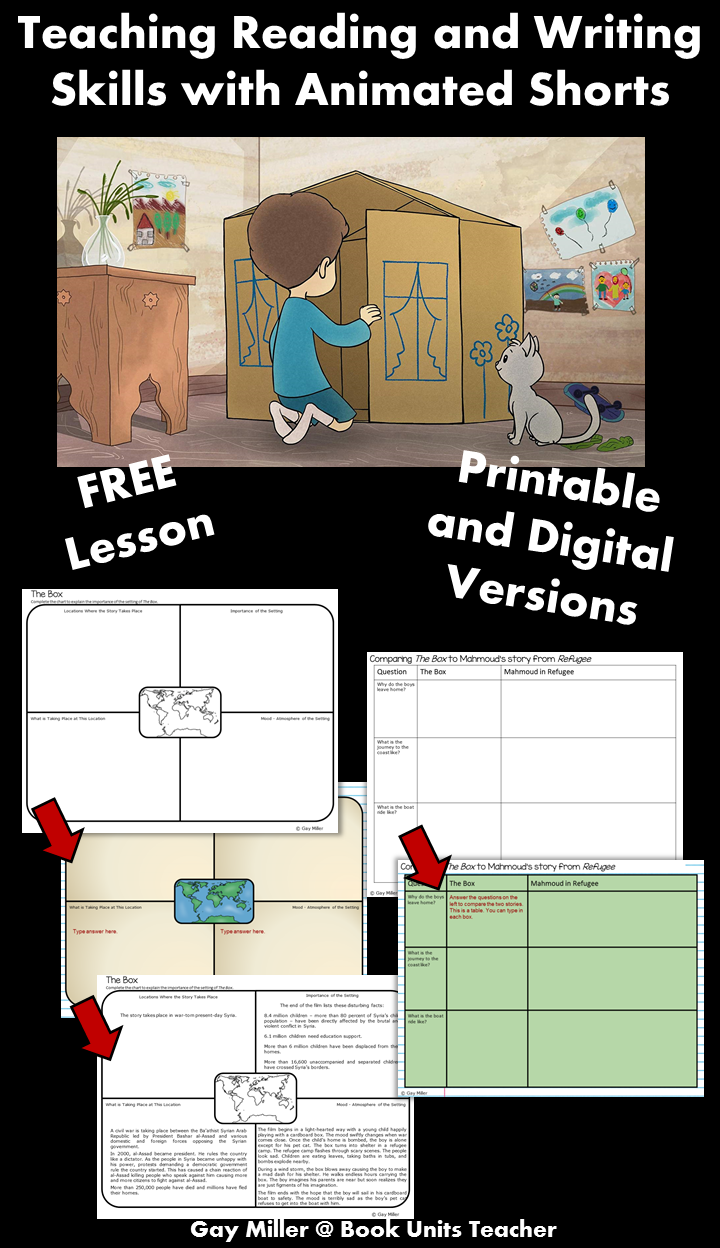 Free Printables to Use when Teaching Reading and Writing Skills with the Animated Short The Box