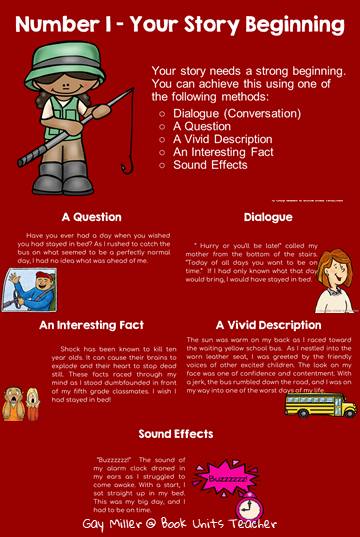 Great blog post with printables to guide students through writing narratives.