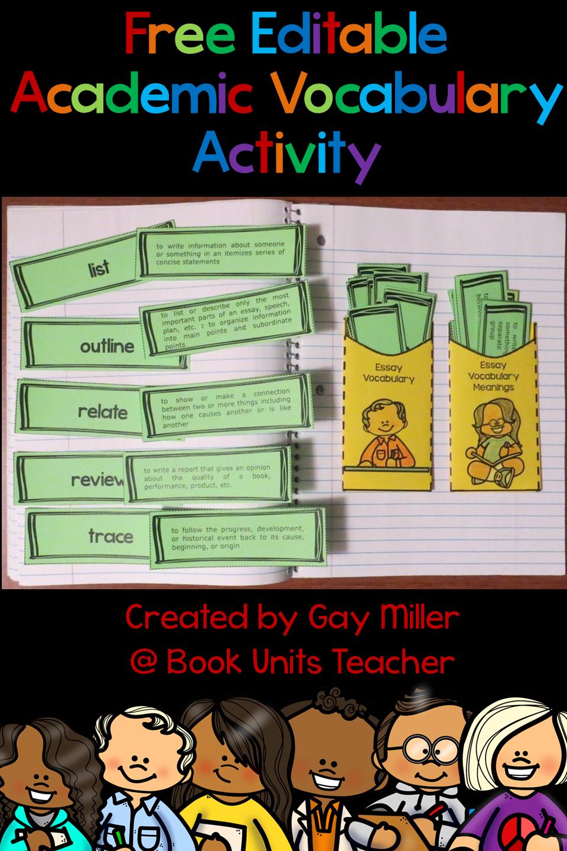 Free Editable Academic Vocabulary Matching Activity