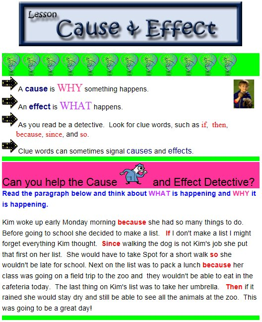 Cause & Effect Lesson and Practice