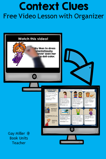 In this mini lesson, students watch the video. The video goes over the definition and two examples. Next students pause the video to complete either the digital or printable organizer. After completing the organizer, students continue watching the video to check their responses. This mini activity is a great introduction for a context clues lesson.