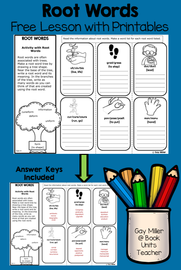 This activity introduces students to six different root words. This mini lesson is a vocabulary building exercise for upper elementary and middle school students.