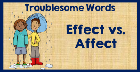 This vocabulary lesson includes a free organizer and digital resource. 4th, 5th, and 6th graders will practice using the troublesome word pair - affect/effect. This lesson covers the rules with examples appropriate for upper elementary students.