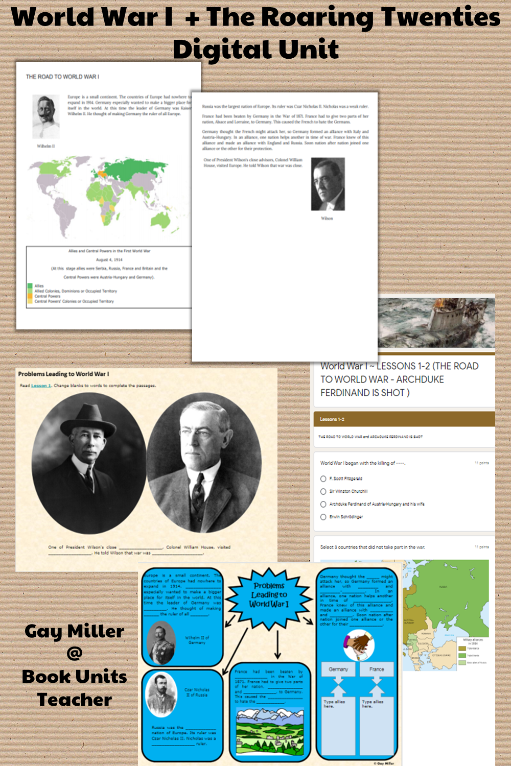 Purchase World War I + Roaring Twenties  Digital Unit on Teachers Pay Teachers. This activity is great for upper elementary including 4th, 5th, and 6th graders.
